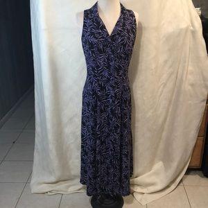 T.R. Bentley Long Purple Button Front Dress Sz 10